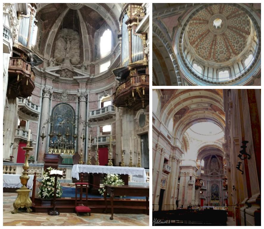 Interior da Basílica de Mafra, detalhes da cúpula e altar