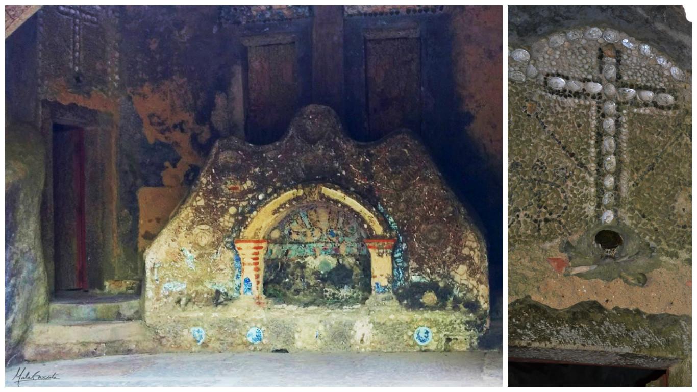 Alpendre de entrada do Convento dos capuchos e cruz sobre a porta da morte